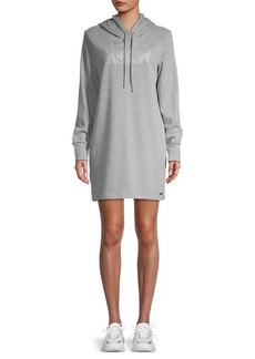 Calvin Klein Graphic Cotton-Blend Hooded Sweater Dress