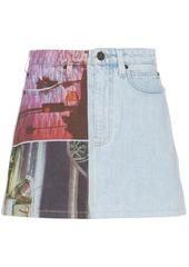 Calvin Klein graphic print denim mini skirt