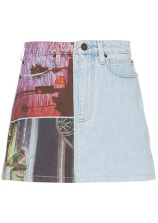 Calvin Klein graphic print denim mini skirt
