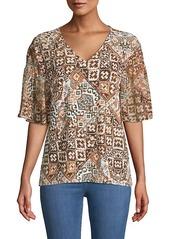 Calvin Klein Graphic Print V-Neck T-Shirt