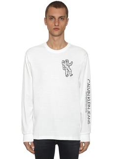 Calvin Klein Graphic Printed Ls Cotton Blend T-shirt