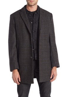 Calvin Klein Grey Plaid Wool Blend Slim Fit Coat