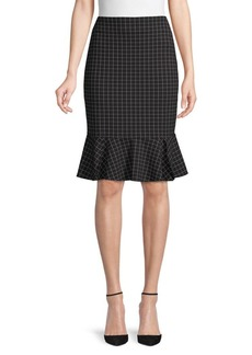 Calvin Klein Grid-Print Ponte Skirt