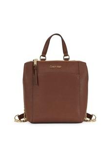 Calvin Klein Hayden Top-Zip Leather Backpack