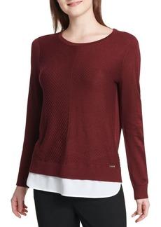 Calvin Klein Heathered Crewneck Two-fer Sweater
