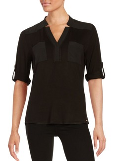 Hi-Lo Roll-Sleeve Top