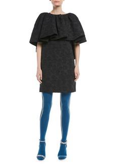 Calvin Klein High-Neck Ruffle Floral-Jacquard Mini Dress