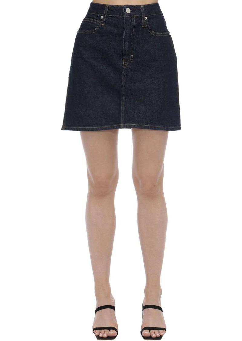Calvin Klein High Rise Cotton Denim Mini Skirt
