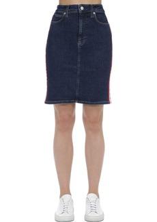 Calvin Klein High Rise Logo Cotton Denim Mini Skirt