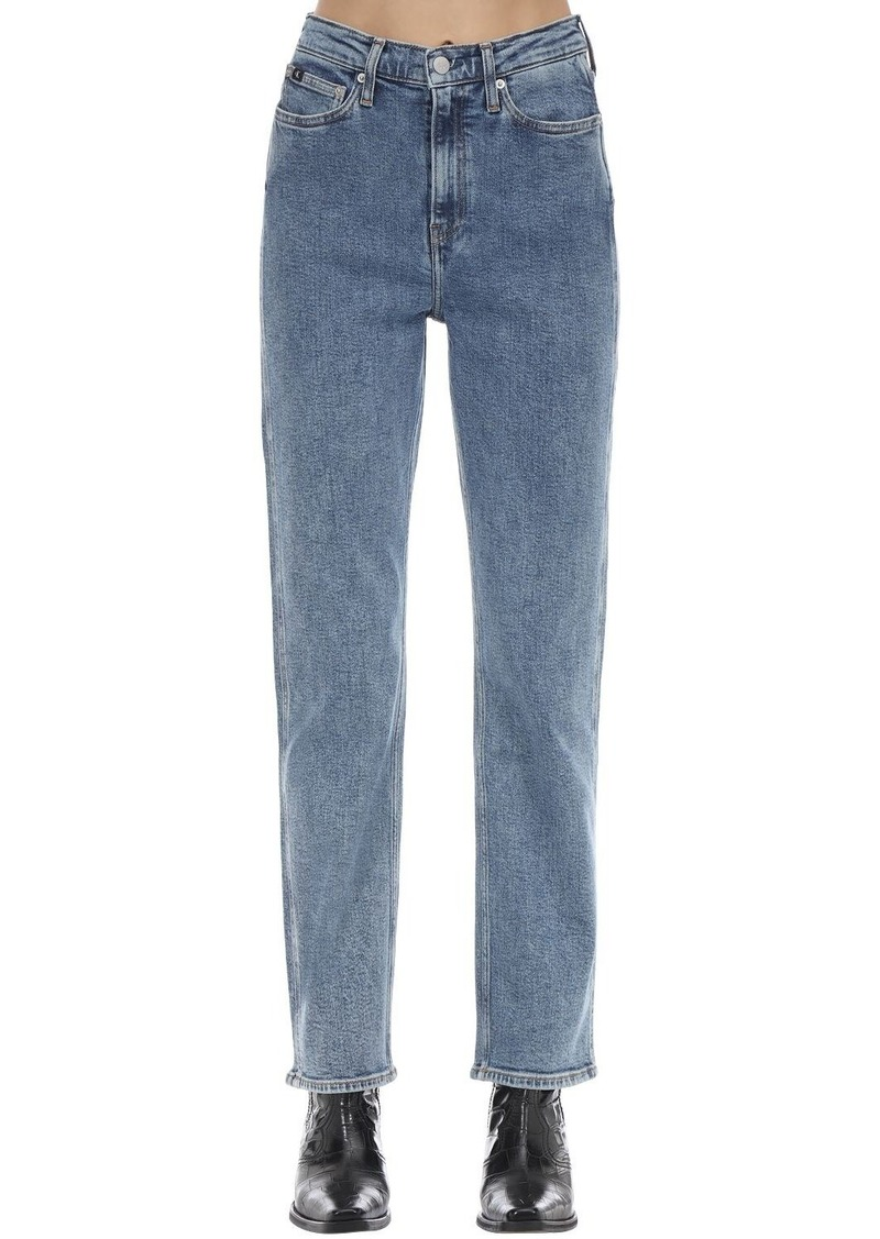 Calvin Klein High Rise Straight Cotton Denim Jeans