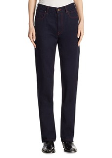 High-Rise Straight Cotton Jeans