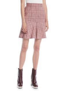 Calvin Klein High-Waist Plaid Flared Wool Skirt