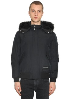 Calvin Klein Hooded Down Bomber Jacket W/faux Fur