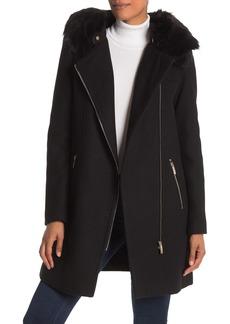 Calvin Klein Hooded Faux Fur Coat