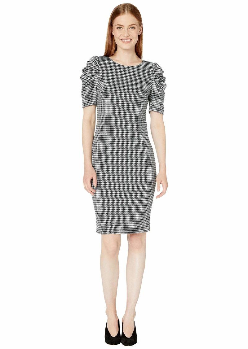 Calvin Klein Houndstooth Puff Sleeve Dress