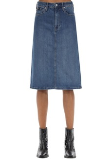 Calvin Klein Iconic Cotton Blend Denim Midi Skirt