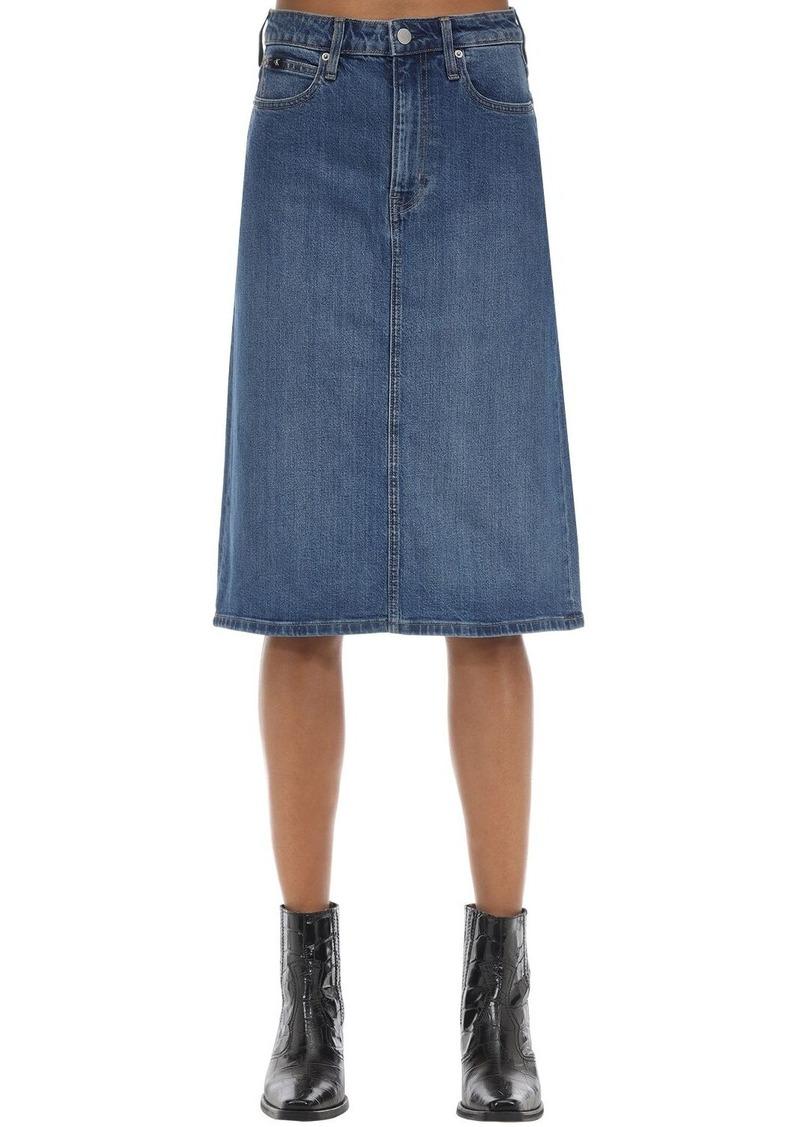 Calvin Klein Iconic Cotton Blend Denim Midi Skirt
