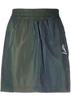 Calvin Klein iridescent logo-print mini skirt