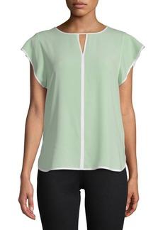 Calvin Klein Keyhole Flutter-Sleeve Top