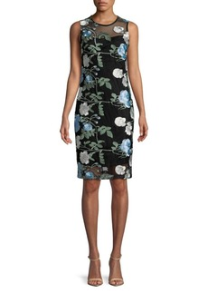 Calvin Klein Knee-Length Floral Embroidered Dress