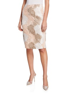 Calvin Klein Knee-Length Pencil Skirt w/ Leaf Lace Overlay