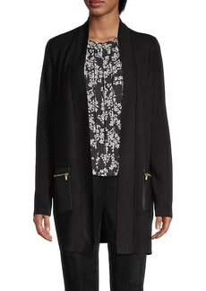 Calvin Klein Knit Faux-Leather Cardigan