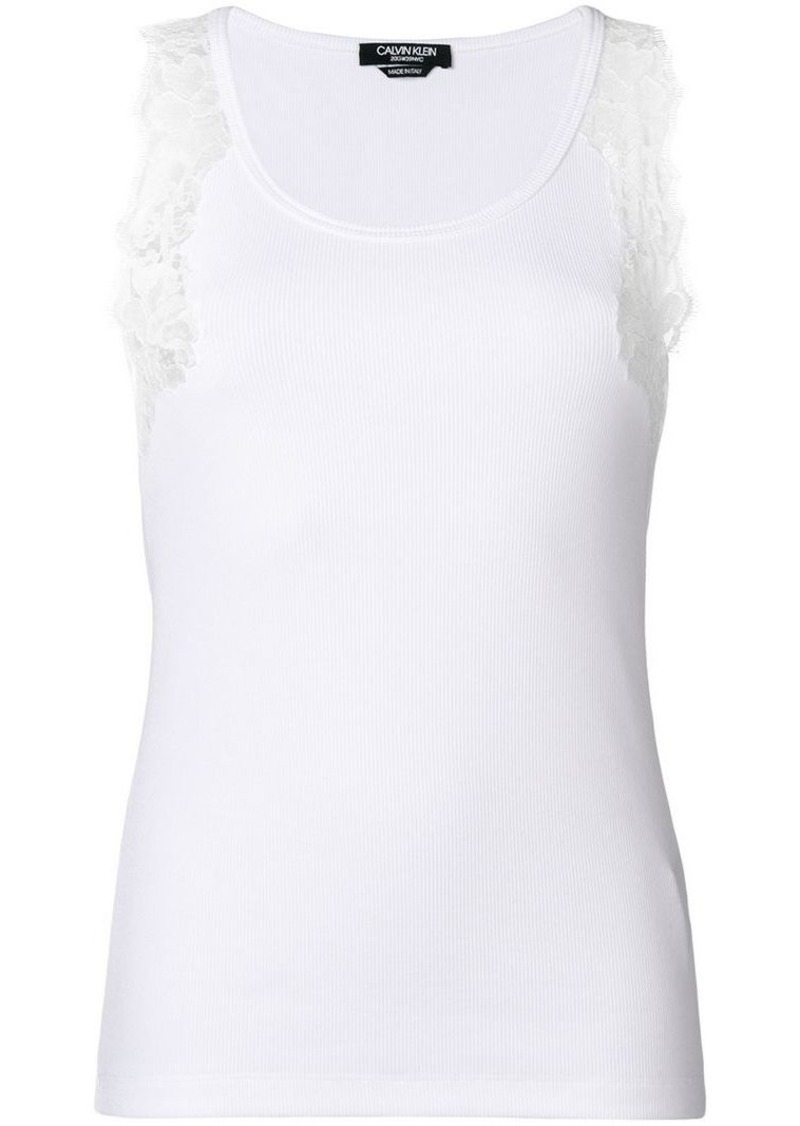 Calvin Klein lace-detail fitted vest