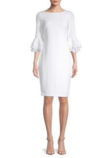 Calvin Klein Lace-Trimmed Bell-Sleeve Dress