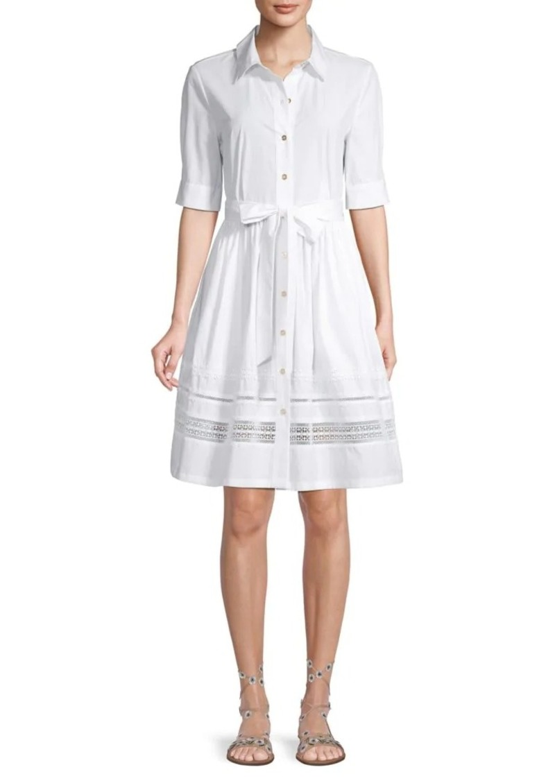 Calvin Klein Lace-Trimmed Cotton Shirtdress