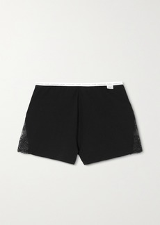 Calvin Klein Lace-trimmed Stretch Cotton And Modal-blend Jersey Shorts
