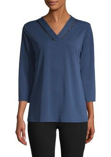 Calvin Klein Ladder Lace V-Neck Top