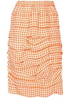 Calvin Klein layered effect gingham print skirt