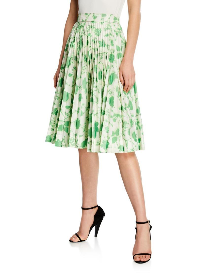 Calvin Klein Leaf-Print Pleated Circle Skirt