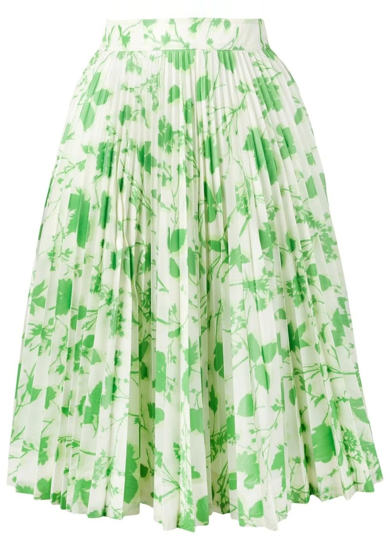 Calvin Klein leaf print pleated skirt