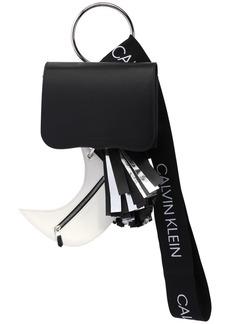 Calvin Klein Leather Bag W/ Pouch, Pompom & Logo Band