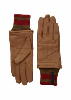 Calvin Klein Leather Gloves w/ Striped Knit Cuff