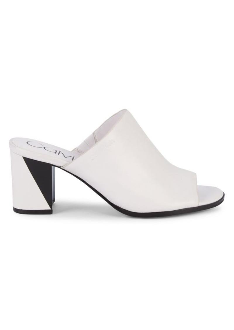 Calvin Klein Leather Slip-On Mules
