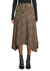 Calvin Klein Leopard-Print Asymmetrical Midi Skirt