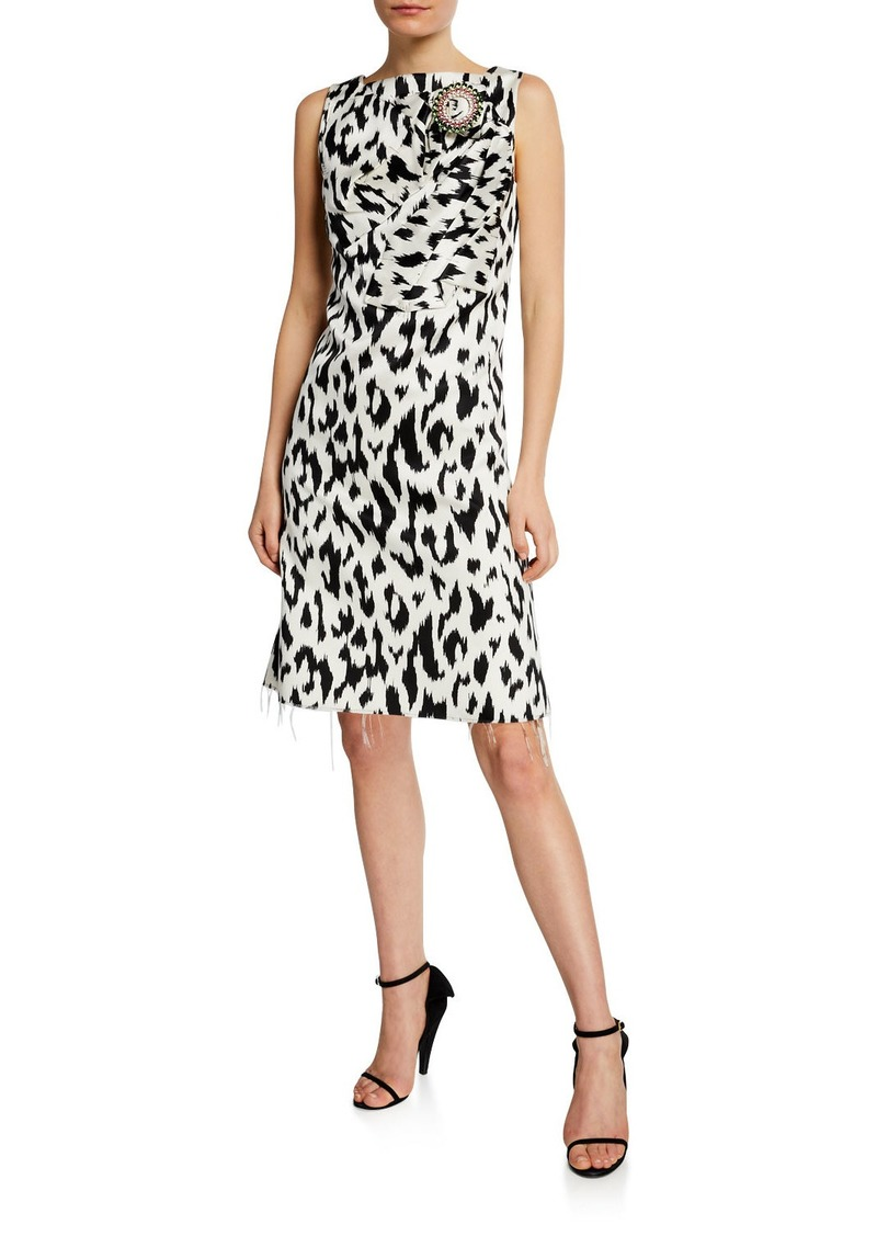 Calvin Klein Leopard-Print Dress with Crushed Bow & Crystal Pin