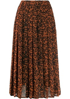 Calvin Klein leopard print pleated skirt