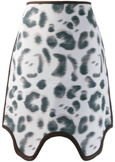 Calvin Klein leopard print skirt with asymmetric hem