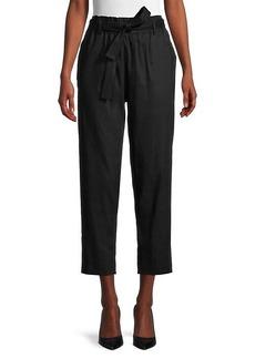 Calvin Klein Linen-Blend Paperbag Pants