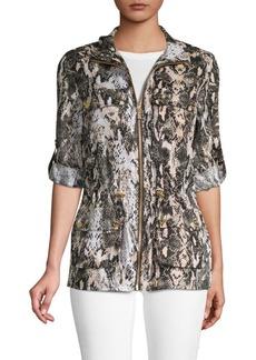 Calvin Klein Linen Snake Print Drawstring Jacket