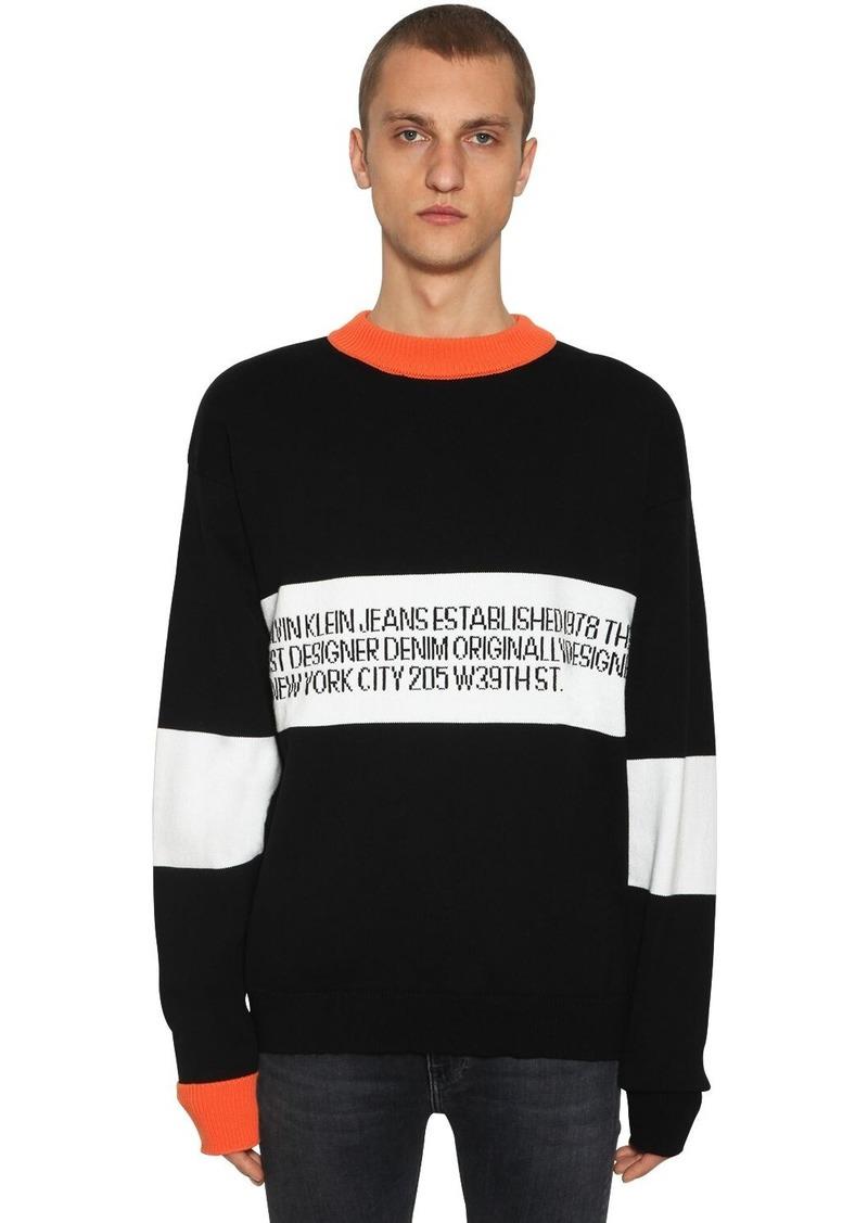 Calvin Klein Logo Cotton Intarsia Sweater