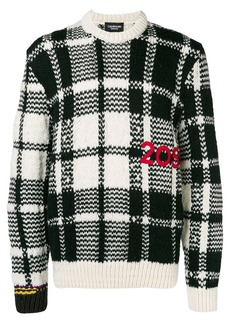 Calvin Klein logo embroidered check knit sweater