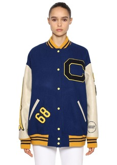 Calvin Klein Logo Patched Carded Wool Bomber Jacket