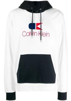 Calvin Klein logo print colour block hoodie