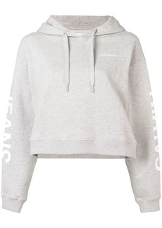 Calvin Klein logo print cropped hoodie