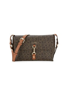 Calvin Klein Logo-Print Faux Leather Crossbody Bag