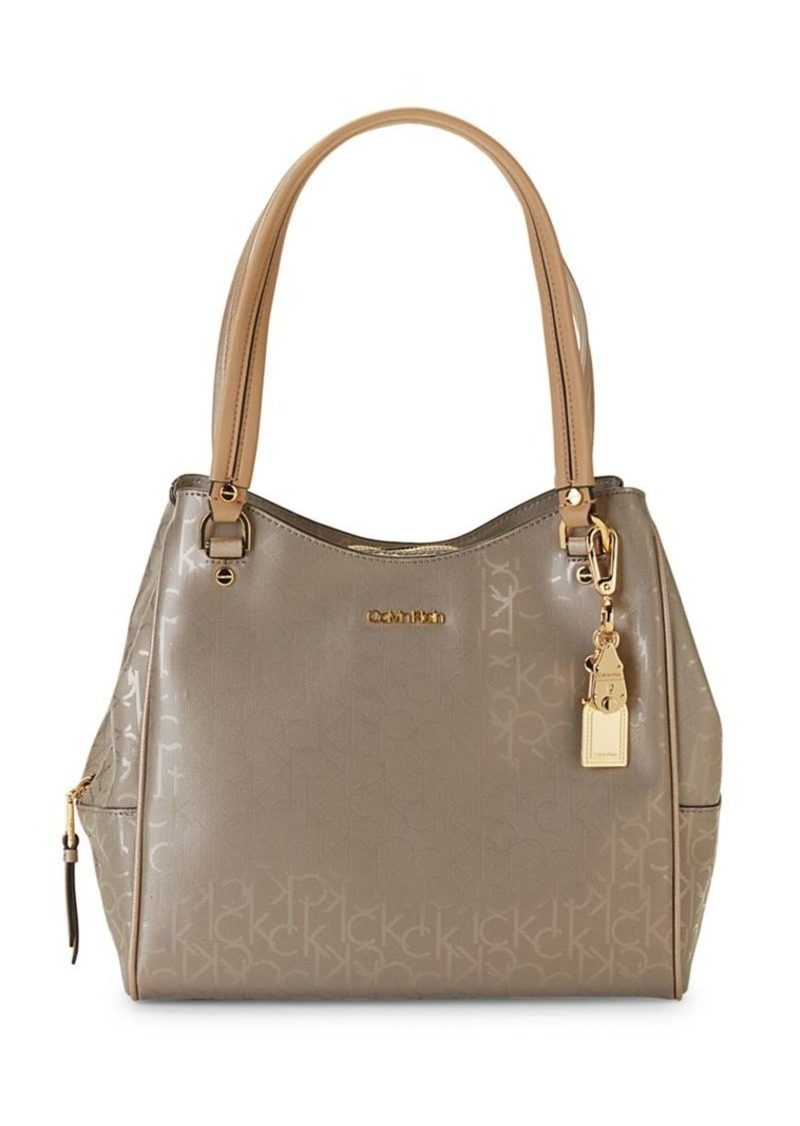 Calvin Klein Logo-Print Faux Leather Tote